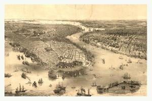 Bird's Eye View of New York and Brooklyn, Circa 1851, USA, America by John Bachmann