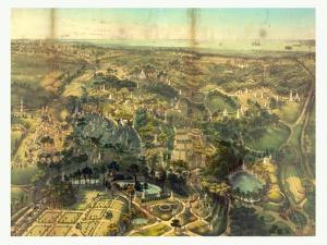 Birds Eye View of Greenwood Cemetery Near New York, USA, America by John Bachmann