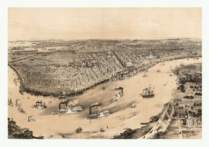Birds' Eye View of New Orleans Drawn from Nature on Stone, Circa 1851, USA, America by John Bachmann