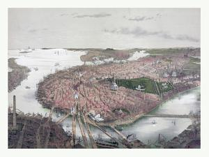 Boston Bird's Eye View from the North, Circa 1877, USA, America by John Bachmann