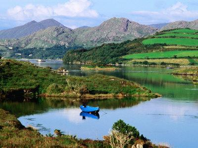 Blue Boat on Tranquil Kenmare River, Munster, Ireland