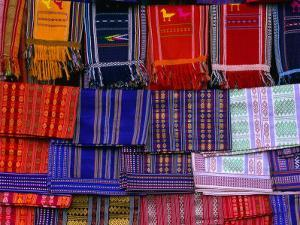 """Koho Silk Weavings Displayed for Sale in """"Chicken Village,"""" Da Lat, Lam Dong, Vietnam by John Banagan"""