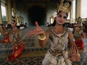 National Ballet Performing Ancient Apsara Dance at Royal Palace Pagoda, Phnom Penh, Cambodia by John Banagan