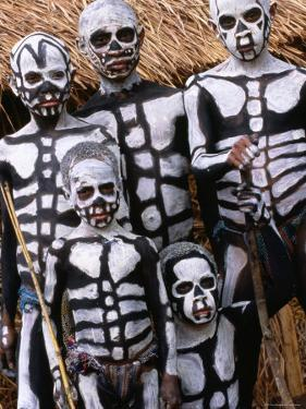 Sing Sing Group Members with Skeleton-Like Body Paint at Mt. Hagen Cultural Show, Papua New Guinea by John Banagan