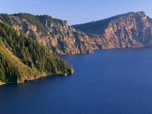 OR, Crater Lake NP. Evening view from north rim of Crater Lake south towards Sentinel Rock by John Barger