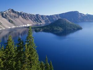 OR, Crater Lake NP. West rim of Crater Lake with Hillman Peak and Llao Rock by John Barger