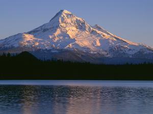 OR, Mount Hood NF. Sunset light on north side of Mount Hood with first snow of autumn by John Barger
