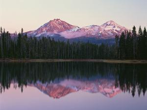 OR, Willamette NF. North and Middle Sister, with first snow of autumn by John Barger