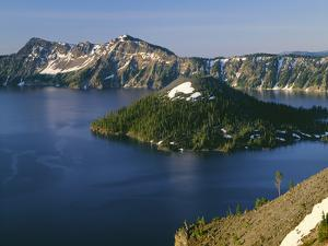 Oregon. Crater Lake NP, sunrise on Crater Lake and Wizard Island with Garfield Peak by John Barger