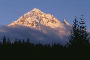 Oregon. Mount Hood NF, evening light defines fresh autumn snowfall by John Barger