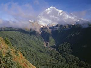 Oregon. Mount Hood NF, Mount Hood Wilderness, Drifting clouds obscure west side of Mount Hood by John Barger