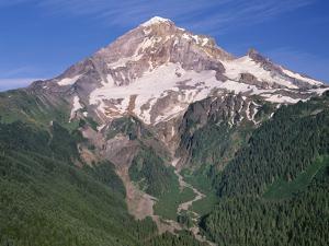 Oregon. Mount Hood NF, Mount Hood Wilderness, west side of Mount Hood and densely forested slopes by John Barger