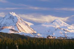 Oregon. Three Sisters Wilderness, evening light on North and Middle Sister with autumn snow by John Barger