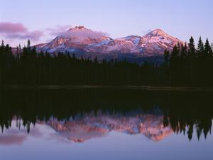 Oregon. Willamette NF, North and Middle Sister, with first snow of autumn by John Barger