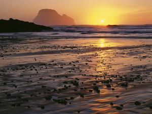 USA, Oregon. Sunset, tide-washed sand and Three Arch Rocks, near Oceanside. by John Barger