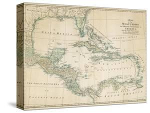 Maps of the caribbean posters for sale at allposters the caribbean with the west indies and the coasts of the united states and the spanish gumiabroncs Gallery