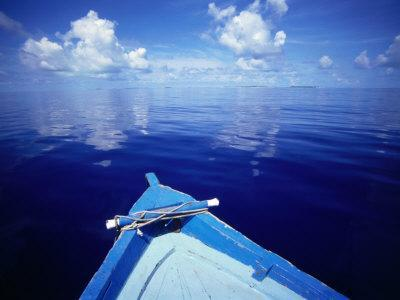 Bow of Wooden Boat and Ocean, Maldives