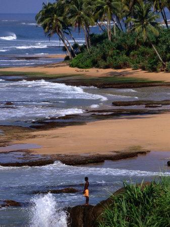 Boy Standing on Seashore Galle, Sri Lanka
