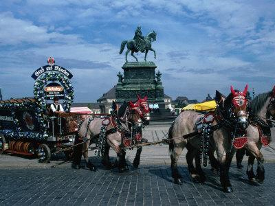 Horse and Carriage Passing Statue of King John of Saxony Dresden, Saxony, Germany