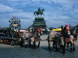 Horse and Carriage Passing Statue of King John of Saxony Dresden, Saxony, Germany by John Borthwick