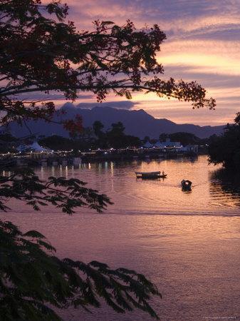 Sunset over Passenger Sampans on Sarawak River