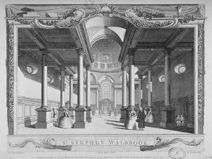 Interior View Looking East, Church of St Stephen Walbrook, City of London, 1750 by John Boydell