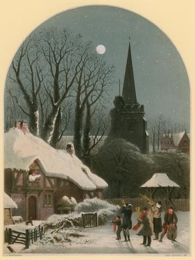 Victorian Christmas Scene with Band Playing in the Snow by John Brandard
