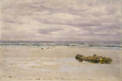 Kennack Sands, Cornwall, at Low Tide, 1877 (Oil on Board, Mounted as a Drawing)