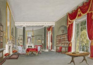 Interior View of the Library Drawing Room in Bromley Hill, Bromley, Kent, 1816 by John Buckler