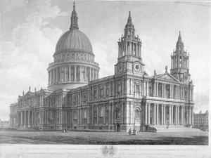North-West View of St Paul's Cathedral, City of London, 1814 by John Buckler