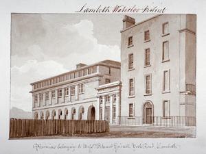 Premises Belonging to Builders Peto and Grissell in York Road, Lambeth, London, 1828 by John Buckler
