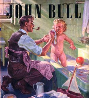 John Bull, Babies Baths Fathers Pipes Smoking Decor Bathrooms Magazine, UK, 1947