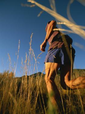 A Man Runs Through Tall Grass Near Mt. Elden by John Burcham