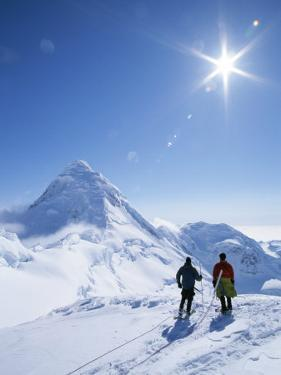 Mountain Climbers Contemplate a Distant Peak in Denali National Park by John Burcham