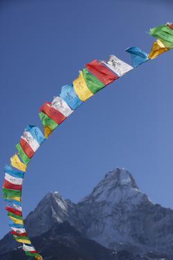 Prayer Flags Frame Ama Dablam Mountain in the Khumbu Valley, Nepal by John Burcham