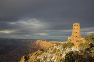 Sunset View of the Grand Canyon and Desert View Watchtower by John Burcham