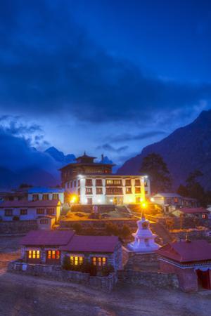 Tangboche Monestery at Night, Khumbu Valley, Nepal by John Burcham
