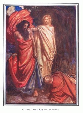 Faithful Struck Down by Moses by John Byam Liston Shaw