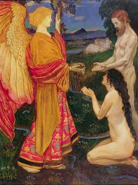 The Angel Offering the Fruits of the Garden of Eden to Adam and Eve by John Byam Shaw