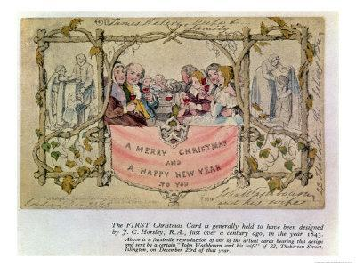 Christmas Card, Example of the First Known Christmas Card Being Used, 1843