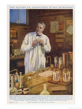 Thomas Alva Edison American Inventor in His Workshop at West Orange New Jersey by John Cameron