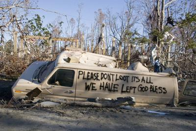Note Written by Hurricane Katrina Victims on Vehicle Damged by Hurricane