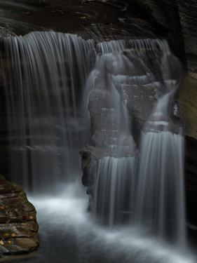 Veil-Like Waterfalls Cascading over Rock in Treman State Park by John Cancalosi
