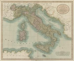 Vintage Map of Italy by John Cary