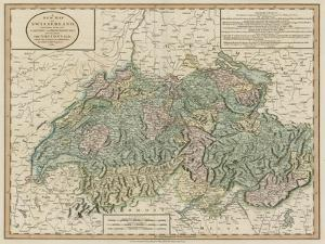 Vintage Map of Switzerland by John Cary