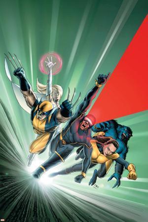 Astonishing X-Men No.1 Cover: Cyclops, Shadowcat, Beast, Wolverine, Emma Frost and X-Men by John Cassaday
