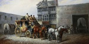 The Bristol Stagecoach Leaving the Fourteen Stars Tavern by John Charles Maggs