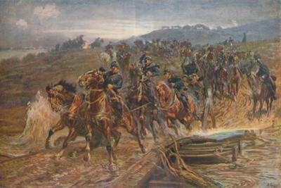 'French Artillery Crossing the River Aisne, September, 1914', 1915 (1928) by John Charlton