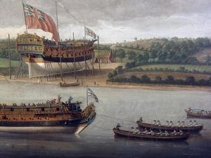 Launch of Fourth-Rate on River Orwell, at Ipswich, Ca 1748 by John Cleveley Senior