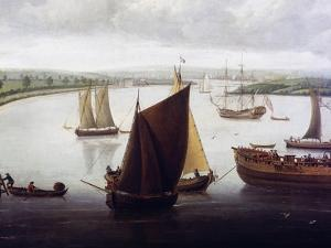Launch of Fourth-Rate on River Orwell, at Ipswich, Circa 1748 by John Cleveley Senior